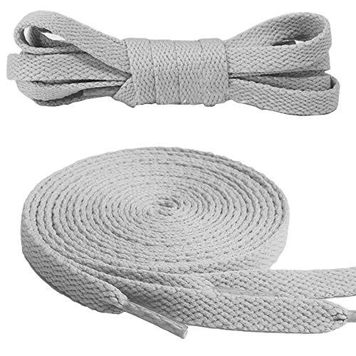 Canwn Flache Schnürsenkel, [3 Paar] Reißfest Ersatz Schuhbänder 100% Polyester 8 mm breit Schnürsenkel für Sportschuhe und Sneaker - Grau
