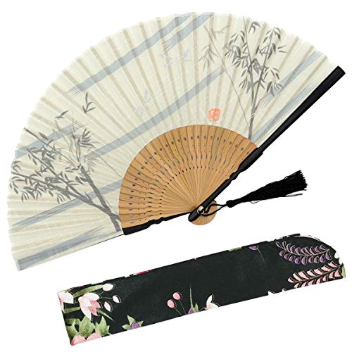 OMyTea Bamboo Forest Folding Hand Held Fan for Women - with a Fabric Sleeve for Protection - Chinese/Japanese Vintage Retro Style for Wedding, Dancing, Church, Party, Gifts (White)