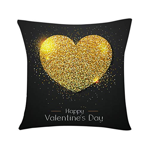 GDBEST Valentine Series Theme Cushion Cover Decorative Fashion Pillow Cover Waist Throw Pillow Cover Love Pattern Print Pillowcase for Sofa Couch Bed Home Decor Gifts Economic Pillow Case(18' x 18')