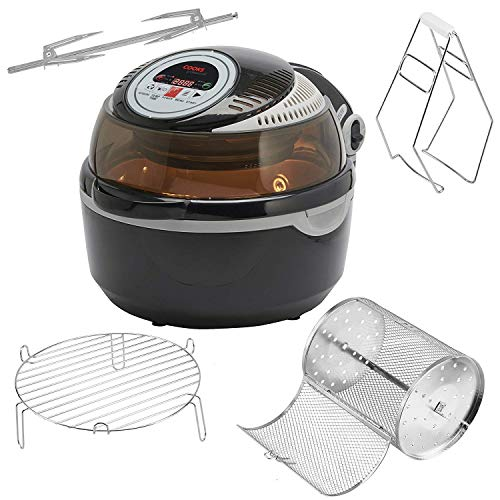 Cooks Professional Air Fryer Halogen Oven Rotisserie with Digital LCD Display, Healthy Oil Free Low Fat Cooking, 10L 1300W & 6 Accessories