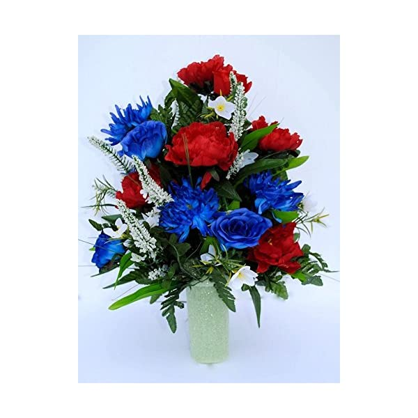 Spring Cemetery Vase Filler with Red and Blue Roses, White accent Flowers, and Blue Spider Lilies for Mother's Day, Memorial Day, July 4th or Father's Day