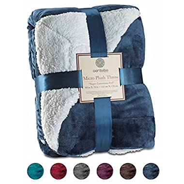 Genteele Sherpa Throw Blanket Super Soft Reversible Ultra Luxurious Plush Blanket (60  X 70 , Navy)