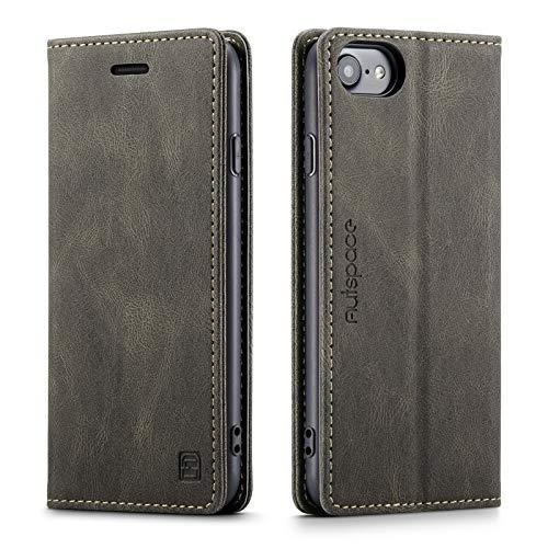 LOLFZ Funda tipo cartera para iPhone 7, iPhone 8, estilo vintage, de piel mate con tarjetero y función atril, cierre magnético oculto, compatible con iPhone 7, iPhone 8, color marrón