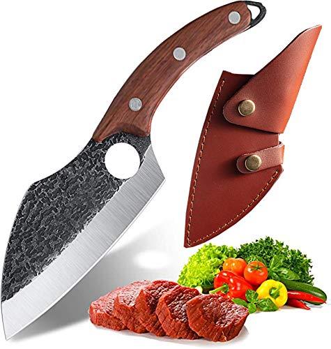Akatomo Coltello mannaia Coltello da chef forgiato fatto a mano con fodero, coltello da cucina Coltello per affettare Coltello multiuso Coltello da macellaio Coltello da verdura per barbecue (steel)