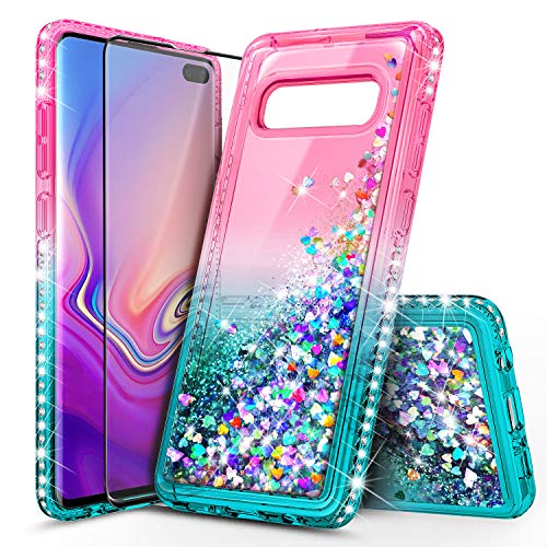 E-Began Case Compatible for Samsung Galaxy S10 Plus with Screen Protector (Maximum Coverage, Flexible TPU Film), Sparkle Flowing Liquid Quicksand Diamond, Girls Women Kids Cute Case -Pink/Aqua