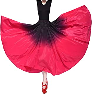 Performance Silky Feeling Black Red Indian Gradient Spain Bull Belly Dance Circle Skirt Prom Evening Party Dress