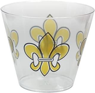 Party Essentials N92030 20-Count Printed Hard Plastic 9 oz Tumblers/, Fleur De Lis Cups, Clear