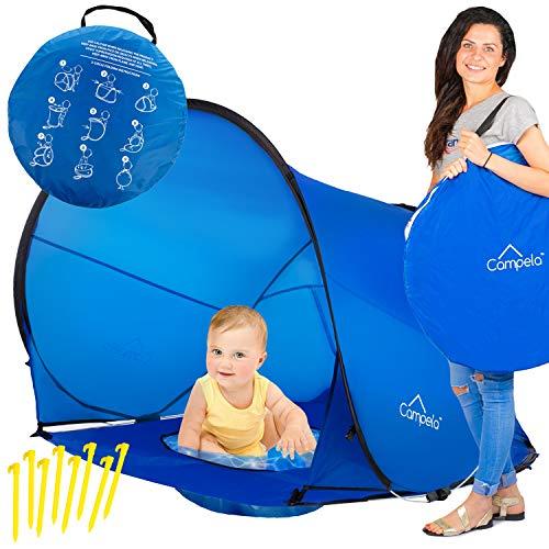 Campela Strandmuschel, Extra Light Automatisches Strandzelt mit Reißverschlusstür und UV-Schutz, Familien Portable Beach Zelt in Blau, Outdoor Tragbar Wurfzelt CA0101