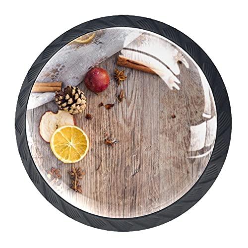 Navidad Adviento, textura de madera de limón, canela, paquete de 4 pomos de gabinete sólidos para cajones redondos de cristal para cocina, armario, baño