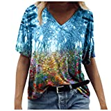 Vintage Drucken Sommer Oberteil Damen V-Ausschnitt Blumen Motiv T Shirt Top Bluse Frauen Mädchen Kurzarm Mode Tops Tunika Blusen Pullover Hemd Shirt