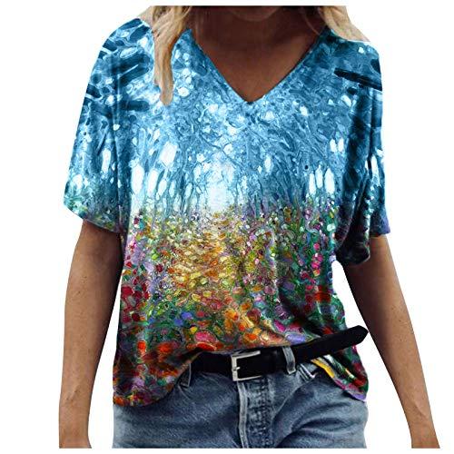 T-Shirt Bluse Damen Sommer Vintage Drcuken Oberteile Kurzarm Blusen V-Ausschnitte Loose Shirt Retro Blumen Frauen Tops Casual Bedruckt Oberteile