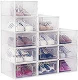 amzdeal Set di 12 scatole per scarpe in plastica, trasparenti, impilabili e impermeabili, per scarpe pieghevoli, salvaspazio, per uomini e donne, 33 × 23 × 14 cm