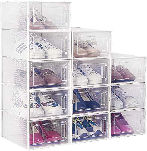 amzdeal Kunststoff Schuhbox 12er Set - transparenter, stapelbarer und wasserdichter Schuhorganizer, Faltbare Schuhe Aufbewahrungsbox, raumsparend Schuhregale für Männer und Frauen 33 × 23 × 14 cm
