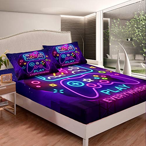 Gamepad Bed Sheet Set Gamer Bedding Set for Kids Teens Video Game Decor Fitted Sheet Modern Game Controller Colorful Action Buttons Bed Cover 3Pcs Full Size