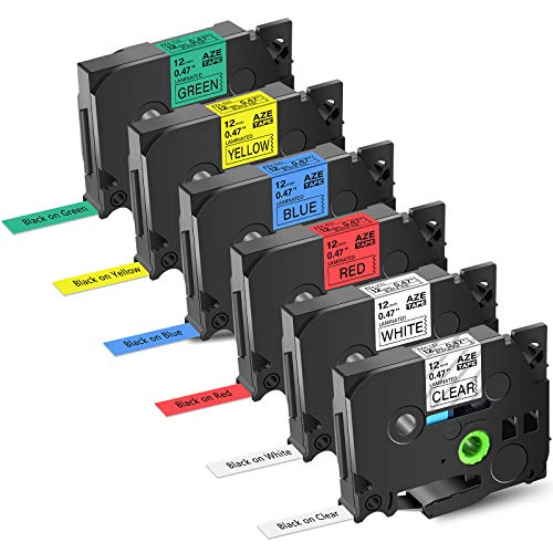 """GREENCYCLE Compatible 12mm 0.47"""" TZ TZE AZE Label Tape Black on White Clear Red Blue Yellow Green Replacement for Brother P-Touch PT2430PC 1890C PT-D210 300BT PT-1010 PTH100 D200 Label Maker-6 Pack"""