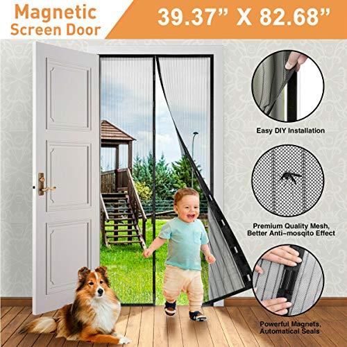EU handsfree magnetisch scherm deur mesh net BLOCK muggen vliegen insectengordijn, zwart gestreept anti-muggen en insectengordijn