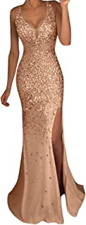 dumanfs Women Sexy Hot Drilling Prom Gown, Shinning Sequin Gold Evening Party Bridesmaid V Neck Slit Long Maxi Ball Dress