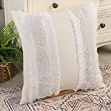 Ailsan Throw Pillow Covers Boho Decorative Soft Tufted Pillowcase with Tassels Standard Decorative Lumbar Pillow Cover Pillow Cushion Cover for Sofa Couch Chair Car Seat (Cream Tufted, 18x18 Inch)
