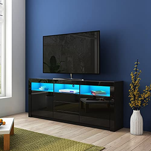 AWOOOD 160cm TV Stand Unit High Gloss Sideboard Wooden TV Cabinet with 3 Drawers 2 Doors LED Light for Living Room Bedroom Furniture Black