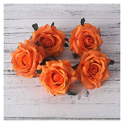 LHHZAL Pink Silk Artificial Flowers Rose Bouquet for Home Wedding Decoration Dusty Rose Fake Flower Autumn Table Decor Party Supplies Artificial Flower (Size : Pink) (Size : Orange)