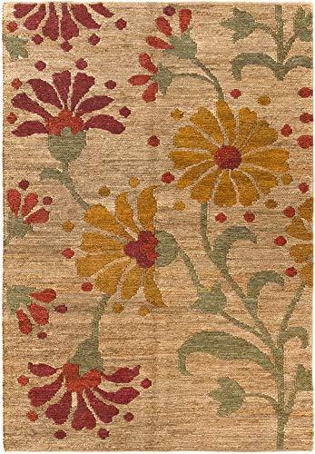 HAMID Alfombra Yute Ubeda Flor Color Natural - Alfombra 100% Fibra de Yute (160x230cm)