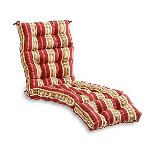 outdoor furniture cushions walmarts South Pine Porch Outdoor Roma Stripe 72-inch Chaise Lounge Cushion, 1 Count (Pack of 1)