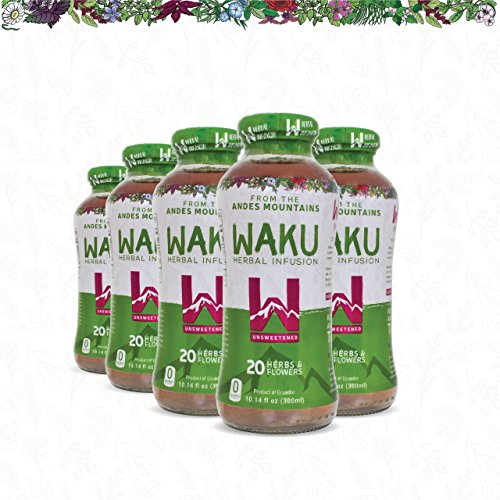 Waku Herbal Tea, Unsweetened Flavor Pack, 0 Calorie 0 Sugar, 20 Superherbs Infused Drinks, Promote Healthy Digestion, Directly Brewed from Herbs and Flowers, 10 Fluid Ounce Bottles, 12 Count