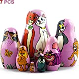 MATRYOSHKA&HANDICRAFT Matryoshkas Russian Nesting Dolls Cats from Disney Cartoons Set 7 pcs Wooden Toy