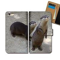 AQUOS sense4 lite SH-RM15 ケース 手帳型 動物 手帳ケース スマホケース カバー かわうそ カワウソ E0318040115505