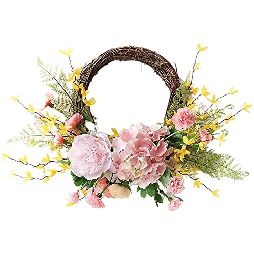 PPuujia Artificial Winter Jasmine Carnations Flower Wreath Spring Summer Faux Floral,19.6 Inch Wreath Front Door Hanging Garland for In