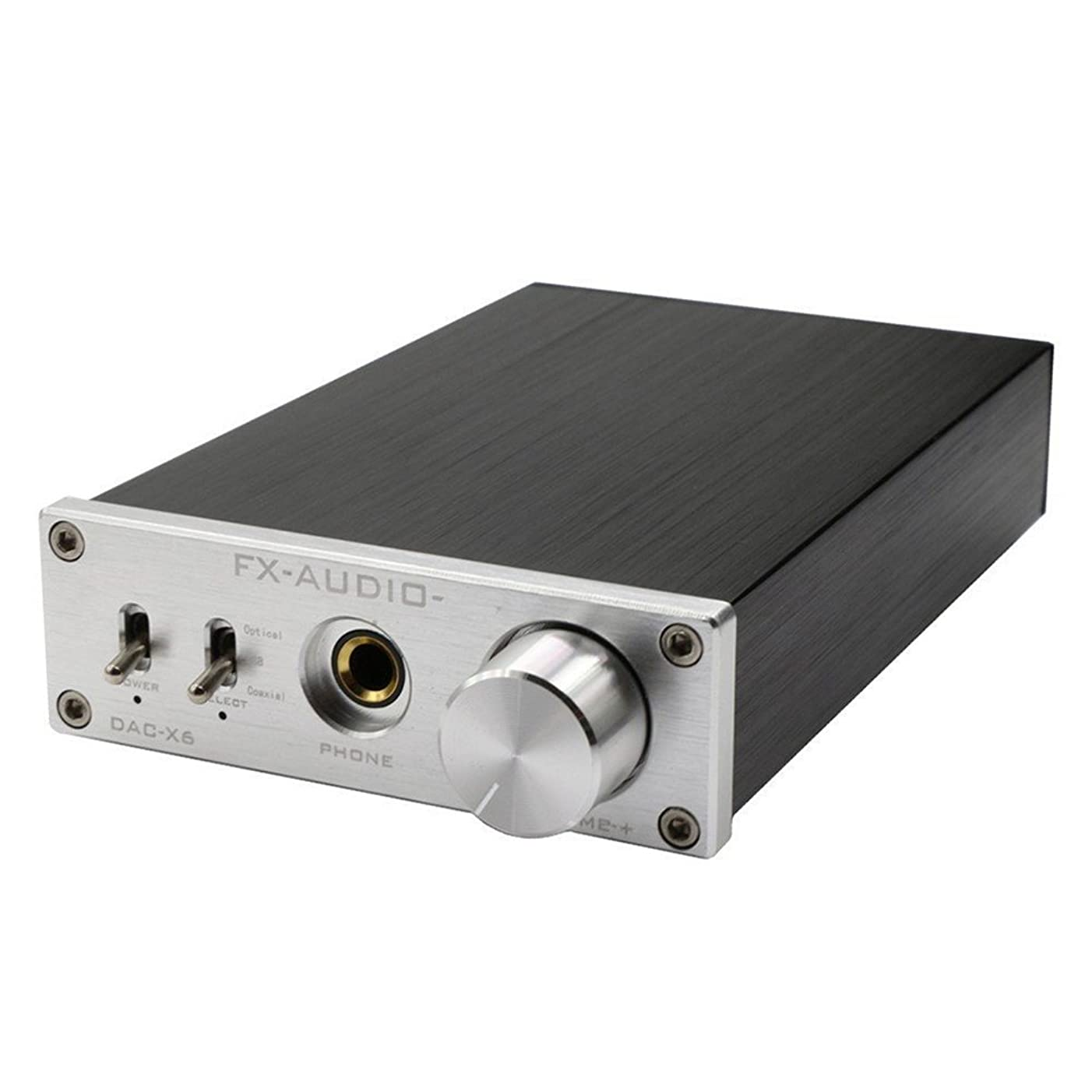 カートリッジ悪意のある羊FX-Audio DAC-X6 ヘッドフォンアンプ HIFI 光同軸/USB DAC ミニオーディオデコーダ 24BIT/192 12V (シルバー)