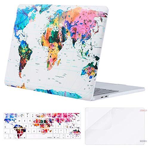 MOSISO Funda Dura Compatible con MacBook Pro 13 2020 A2338 M1 A2289 A2251 A2159 A1989 A1706 A1708, Carcasa Plástico&Cubierta de Teclado de Color a Juego&Protector de Pantalla,Mapa del Mundo