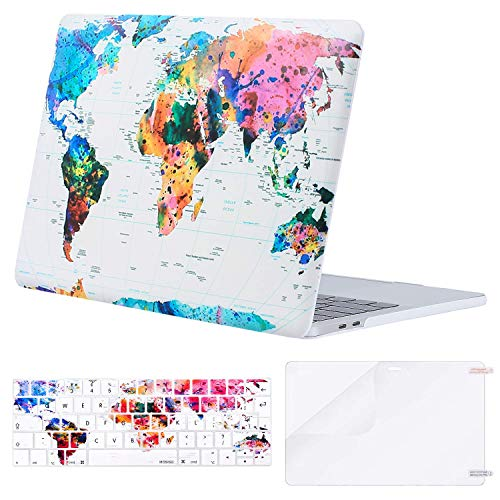 MOSISO MacBook Pro 13 Case 2019 2018 2017 2016 Release A2159 A1989 A1706 A1708, Plastic Hard Case & Keyboard Cover & Screen Protector Compatible with MacBook Pro 13, World Map White Base