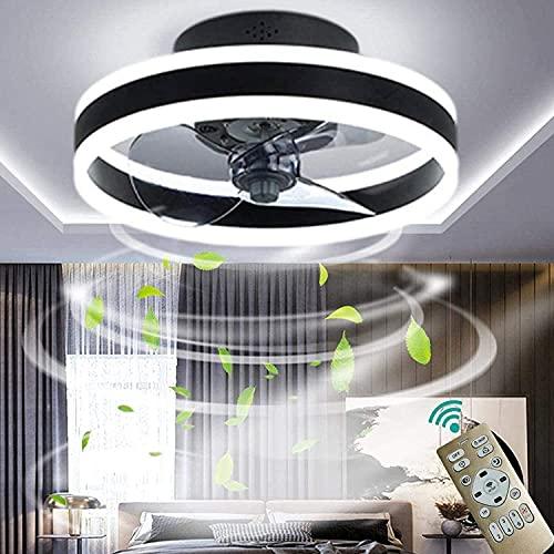 Luz del techo del ventilador, con iluminación y control remoto Luz pendiente de ventilador regulable, velocidad de viento ajustable, para sala de estar, dormitorio, habitación para niños
