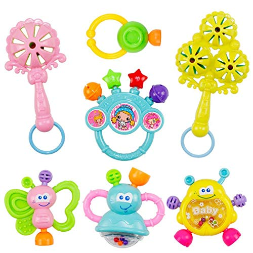 Great Deal! GoodKE 7pcs Cute Shape Soft Make Sound Rattle Set Baby Handheld Early Educational Toy Dr...