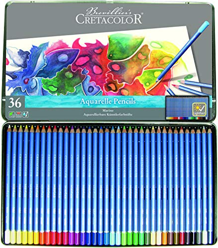 Cretacolor 240–Marino 36Watercolour Pencils Set of 36, Made from Wood