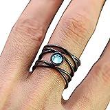 longyitrade Monili dell'anello di Apertura della Pietra di Luna Artificiale Multi-Strato delle Donne di Modo Nero