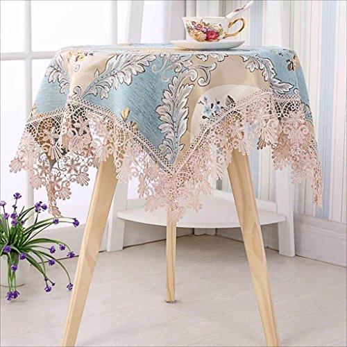 HHCQY spets fyrkantig rund bordsduk, matbord kaffe bordsduk te bordsduk TV kommode skydd tyg (80 cm x 80 cm, 100 cm x 100 cm, 140 cm x 140 cm) (färg: Blå, storlek: 100 cm x 100 cm)