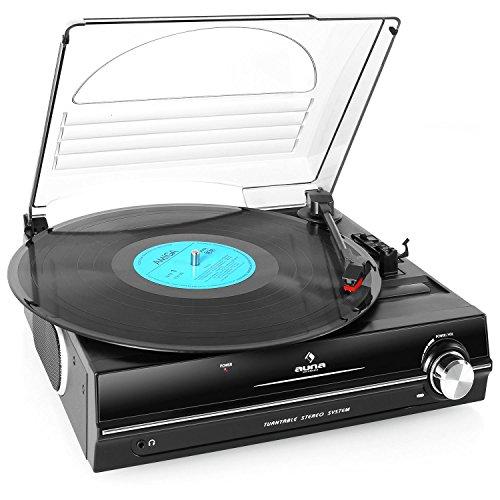 Auna TBA-928 - Tocadiscos con Altavoz, 2 Velocidades, 33/45 RPM, Incluye Aguja y Salida Auriculares, Negro