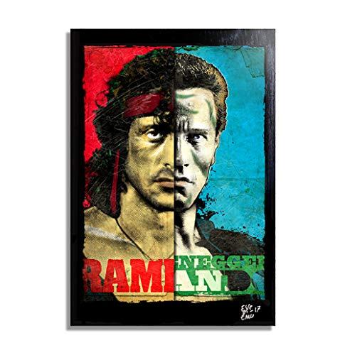 Sylvester Stallone (Rambo) y Schwarzenegger (Comando) - Pintura Enmarcado Original, Imagen Pop-Art, Impresion Poster, Impresion en Lienzo, Cuadro, Comics, Cartel de la Pelicula