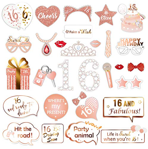 Konsait Rose Gold 16 Birthday Photo Booth Kit(30count), Sweet 16 Props Funny Chic Sweet Sixteen Photo Props with Sticks for Girls 16th Happy Birthday Party Favors Supplies Bday Party Decorations