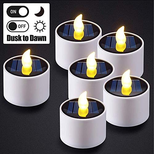 Led Solar Tea Lights Solar Flameless Waterproof Fake Candles (6 PCE) for Home Decoration Valentine's Wedding Party Halloween Anniversay Decor