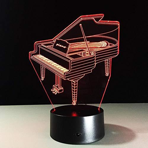 3D piano nachtlampje LED glijbaan verwisselbare lichten touch afstandsbediening 7 kleuren - perfect cadeau voor kinderen en kamerdecoratie