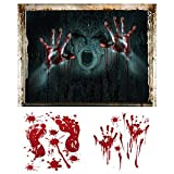 Lifreer Halloween Wandaufkleber, 3D Blutige Geister,