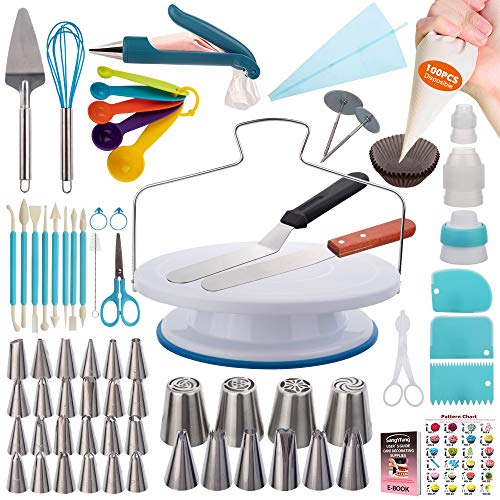 Cake Decorating Kit- 207 PCs Decorating Tools for Beginner with Cake Turntable, Numbered Piping Tips, Russian piping tips, Cake Scrapers& Guide and Other Cake Decorating Supplies Kit for Beginner