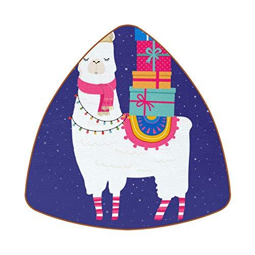 Posavasos triangulares para bebidas, gorro de Papá Noel, para cajas de regalo, taza de cuero, alfombrilla para proteger muebles, resistente al calor, decoración de bar de cocina, juego de 6