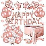 BZLEK Globos de Fiesta de cumpleaños de Oro Rosa Decoración, 8 Globos de Confeti de Rosa 20 Globos de látex de, 4 Globo Foil Estrella Corazo