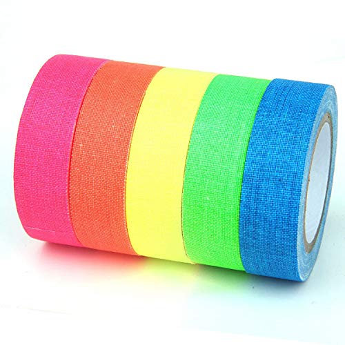 JZK 6 Rolls Fluorescerende neon Gaffer Tape Glow Under Blacklight of UV Light, mat doek Lijm Kleur Code Tape, Decoraties voor Glow Party Halloween