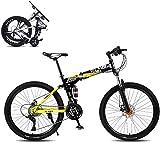 J.W. Faltbares Mountainbike, 8 Sekunden Schnelle Falten Fahrrad 26 Zoll 21 Geschwindigkeit Stahlrahmen Dual-Scheibenbremse Rennrad Für Off-Road-Radfahren,Gelb