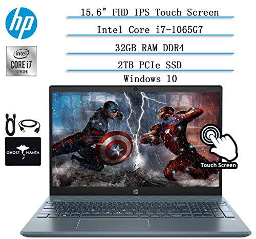 Newest HP Pavilion 15.6' FHD Touchscreen Laptop(1920x1080), 10th Gen Intel i7-1065G7(Up to 3.9GHz, Beat i9-8950HK), NVIDIA GeForce MX250, 32GB RAM, 2TB PCIe SSD,Backlit Keyboard,Win10,w/GM accessories